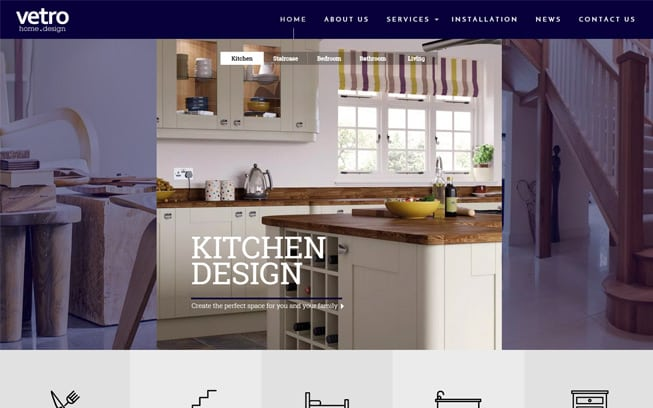webdesign for boltons vetro hom design